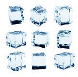 Kostki lodu kolekcja, odizolowywająca na białym tle Obraz Stock