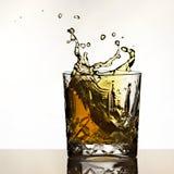 Kostki lodu pluśnięcie w whisky zdjęcie stock