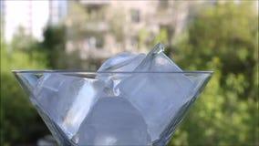 Kostki lodu pojawiać się po inny w Martini szkle jeden zbiory