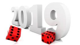 Kostkowy kostki do gry czerwieni 2019 szczęście gabling - 3d rendering ilustracji