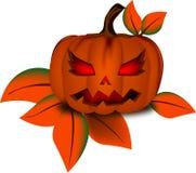Kostkowy liść i bania w Halloween dniu Zdjęcie Royalty Free