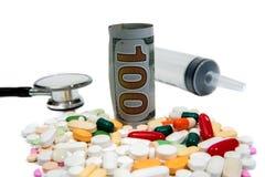 Kostnad-defocused begrepp för hälsovård Arkivfoton