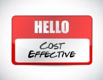 Kostnad - effektivt känt etikettsteckenbegrepp Arkivbild