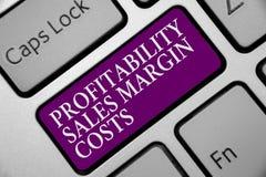Kostnader för marginal för försäljningar för vinst för ordhandstiltext Affärsidéen för intäkter för affärsinkomster budgeterar fö royaltyfri foto