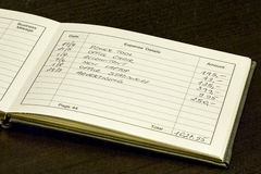 Kostnadsrekordbok Arkivfoton