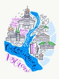 Kostroma City Doodle Map vector illustration