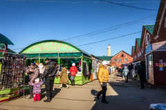 Kostroma fairgrounds. Kostroma, Russia - March 26, 2015: Business is bustling at Kostroma Central Market located at historic Trade Arcades Royalty Free Stock Images