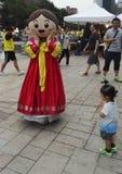 Kostuum cosplay in Koreaanse traditionele kleding Hanbok Royalty-vrije Stock Afbeeldingen