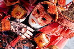 Kostuum in Venetië Carnaval Stock Foto's