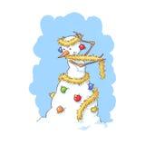 Kostuumsneeuwman stock foto