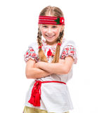kostymera flickan little nationell ukrainare Arkivfoton