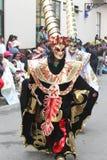 Kostymerade diagram som marscherar i karneval, ståtar, Peru Arkivfoton