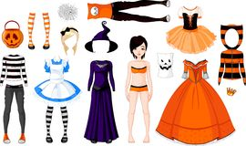 kostymerar flickan halloween stock illustrationer