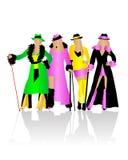 kostymerar maskeradsilhouettes royaltyfri illustrationer