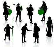 kostymerar medeltida folksilhouettes stock illustrationer