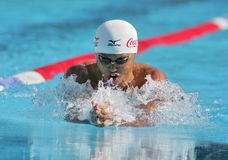 Kosuke Kitajima swimming. Japanese olympic champion Kosuke Kitajima swims breaststroke during the Mare Nostrum meeting at Sant Andreu club, June 14, 2007 in Royalty Free Stock Images