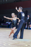 Kosyakov Egor and Belmach Anastasiya performs Adult Latin-American program. Minsk-Belarus, December 20,2014: Professional Belarussian dance couple of Kosyakov Stock Photo