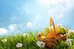 Kosz Easter jajka na Zielonej trawie Obrazy Royalty Free