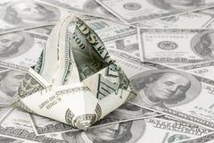 Kosz origami dolar Zdjęcia Royalty Free