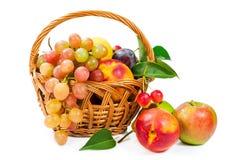 Kosz owoc: jabłka, winogrona, brzoskwinie i śliwki, Zdjęcie Royalty Free