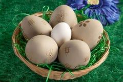 Kosz ręki dekorujący Wielkanocni jajka Fotografia Stock