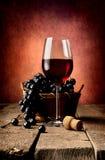 Kosz winogrono i wino Zdjęcia Stock