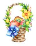 Kosz z błękitnym faborkiem, kolorów żółtych kwiatami i jabłkami, Obraz Stock