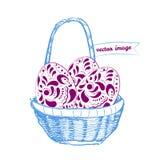 Kosz z Easter jajkami - wektorowa ilustracja royalty ilustracja