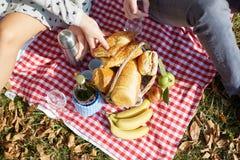 Kosz z jedzeniem, chlebem i winem na pinkinie, Fotografia Stock