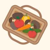 Kosz z jedzeniem, owoc i warzywo Zdjęcie Stock