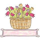 Kosz z kwiatami Fotografia Royalty Free