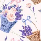 Kosz z kwiatami bezszwowymi royalty ilustracja