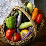 Kosz z ogrodowymi warzywami fotografia stock