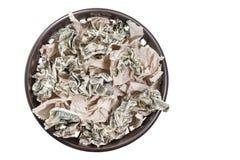 Kosz z papierem i pieniądze Obrazy Stock