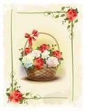Kosz z różami ilustracji