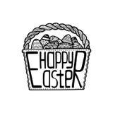 Kosz z Wielkanocnymi jajkami inside i kreatywnie literowaniem royalty ilustracja
