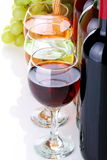Kosz z winogronami i wino butelkami Zdjęcia Royalty Free