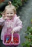 kosza śródpolnej dziewczyny uśmiechnięta truskawka Zdjęcia Royalty Free