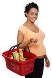 kosza ciężarna zakupy kobieta Zdjęcie Royalty Free