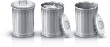 kosza śmieci odosobniony biel Zdjęcia Royalty Free