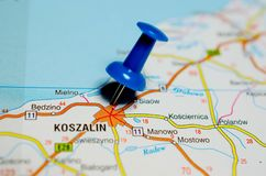 Koszalin on map. Macro shot of Koszalin on map with push pin Stock Photo