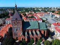 Free KOSZALIN, POLAND - 03 AUGUST 2018 - Aerial View On City Koszalin, Area Of Gothic Cathedral And City Center. Royalty Free Stock Photos - 125759428