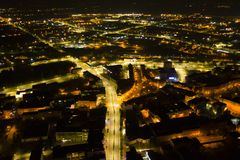 Free KOSZALIN, POLAND - 07 APRIL 2019 - Aerial View On Koszalin City At Night With Street Lights, Area Of Monte Zwyciestwa Street And Stock Images - 145322134