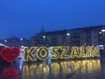 Koszalin, Poland, December 2018 City Square illumination royalty free stock photos