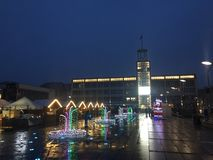 Koszalin, Poland, December 2018 City Square illumination stock photos