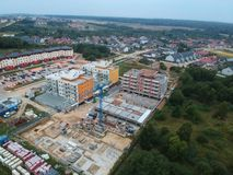 KOSZALIN, POLAND - 07 SEPTEMBER 2018 - Aerial view on Koszalin`s city estate Unia Europejska with new social flat during construc. Tion stock image