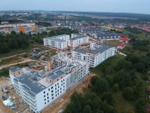 KOSZALIN, POLAND - 07 SEPTEMBER 2018 - Aerial view on Koszalin`s city estate Unia Europejska with new social flat during construc. Tion stock images