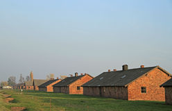 Koszary Auschwitz II Birkenau eksterminacja i koncentracja obozują zdjęcia stock