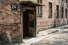 Koszary w Auschwitz Birkenau Niemieckiej Nazistowskiej koncentraci i eksterminacja obozie obraz royalty free