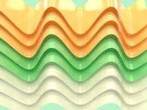 Koszowej kształt zieleni bielu 3d renderingu abstrakta żółty tło ilustracji